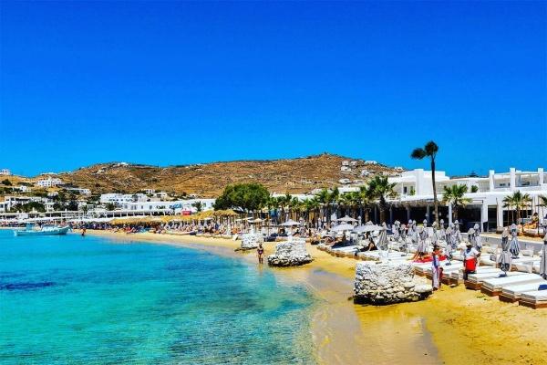 Ornos Strand - Weltbekannte Insel Mykonos, Griechenland